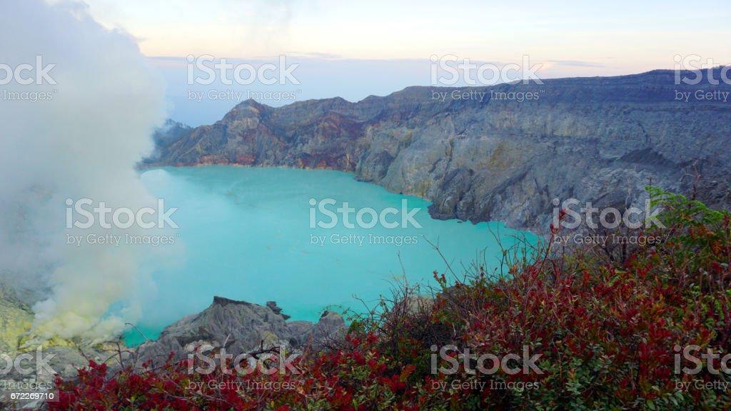 Volcanic Crater Lake of Kawah Ijen stock photo