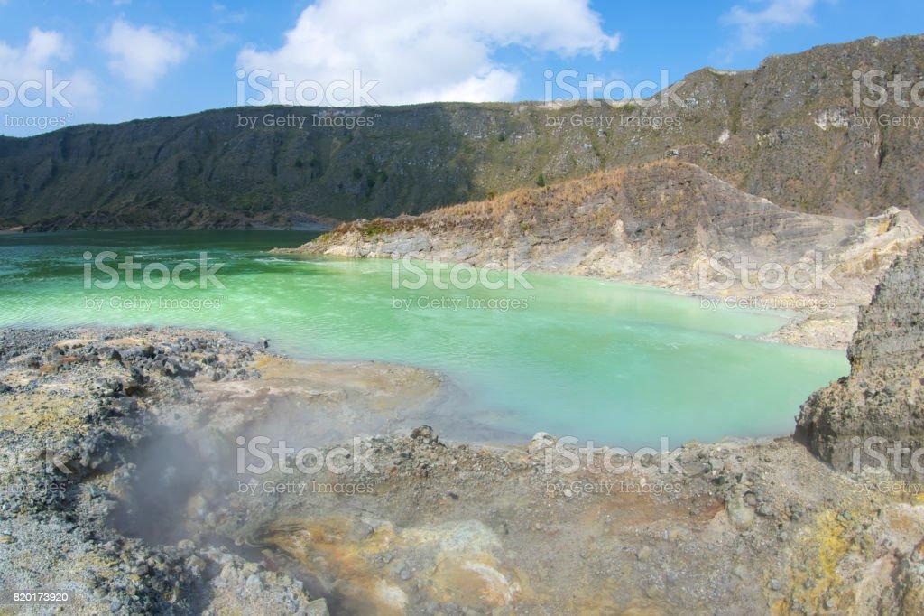 Volcanic crater lake stock photo