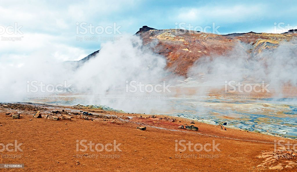 Volcanic crater on the island of Iceland stock photo