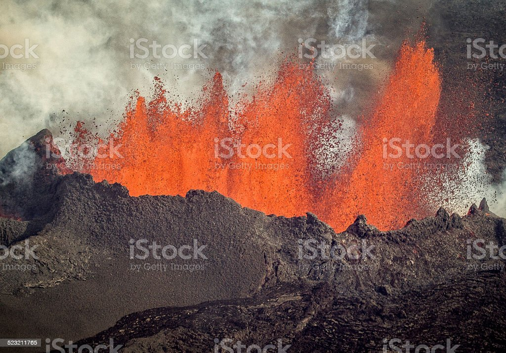 Volcanic Eruption in Holuhraun Iceland on 7 September 2014 stock photo