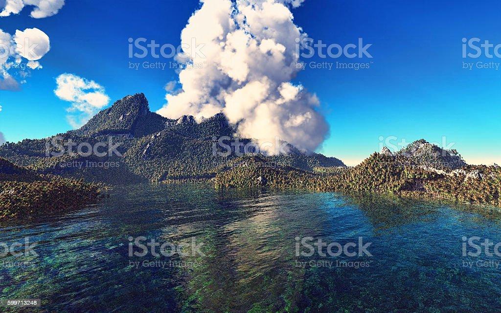 Volcanic eruption on island 3d rendering stock photo