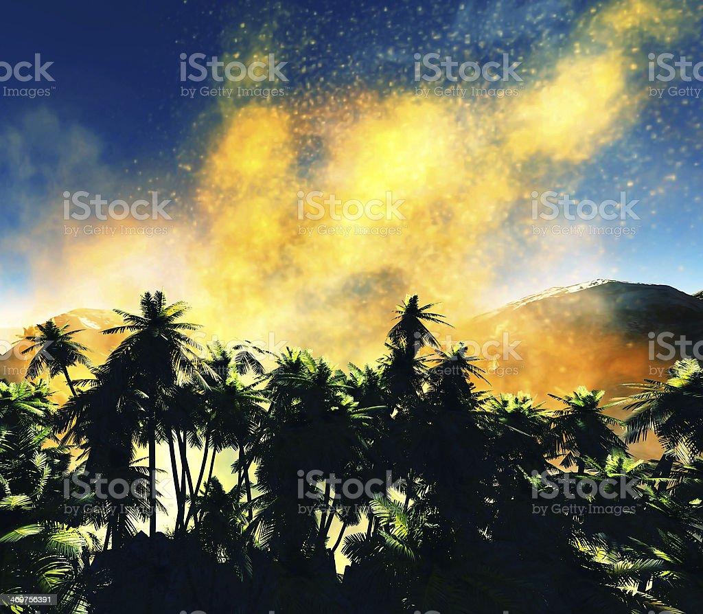 Volcanic eruption on island stock photo