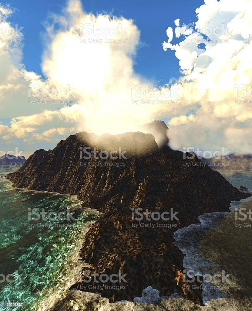 Volcanic eruption on island royalty-free stock photo