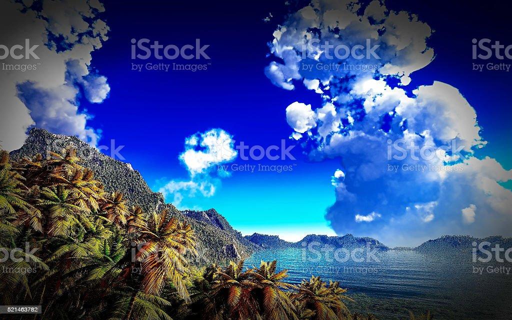volcanic eruption on tropical island, 3d illustration stock photo