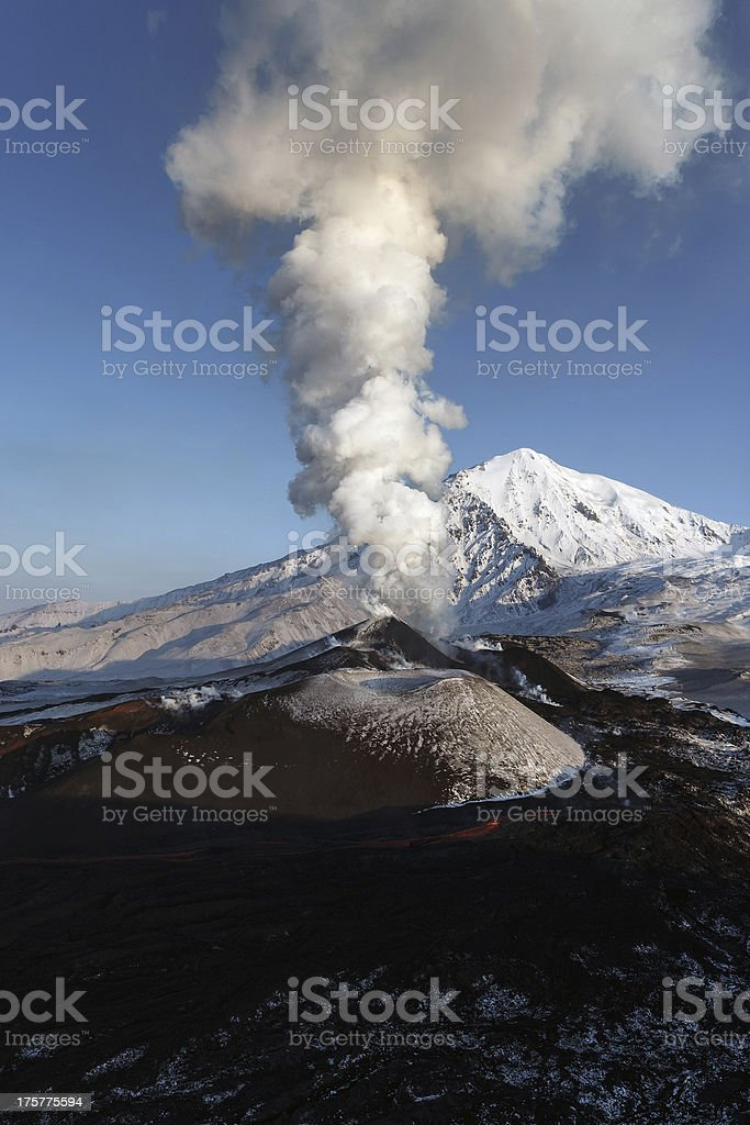 Volcanic eruption Tolbachik. The Kamchatka Peninsula royalty-free stock photo