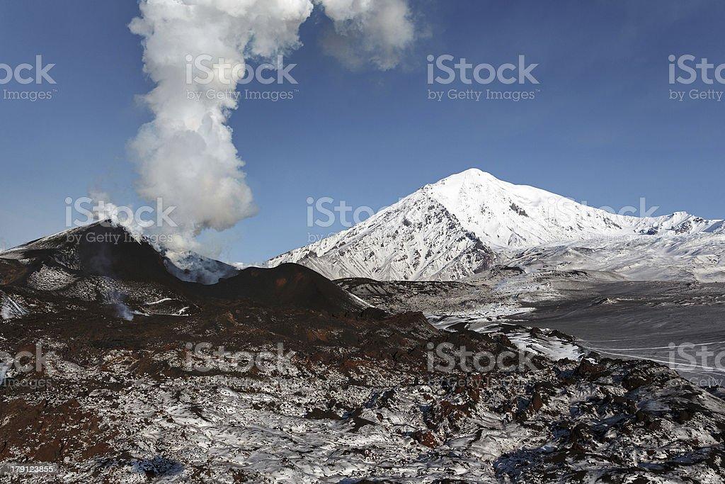 Volcanic eruption Tolbachik. The Kamchatka Peninsula royalty-free stock photo