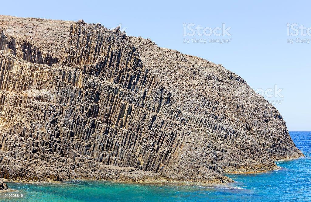 Volcanic formations on Glaronissia islets, Milos island, Greece stock photo
