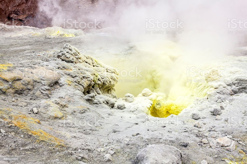 Volcanic fumaroles. Active volcano Mutnovsky, Kamchatka, Russia stock photo