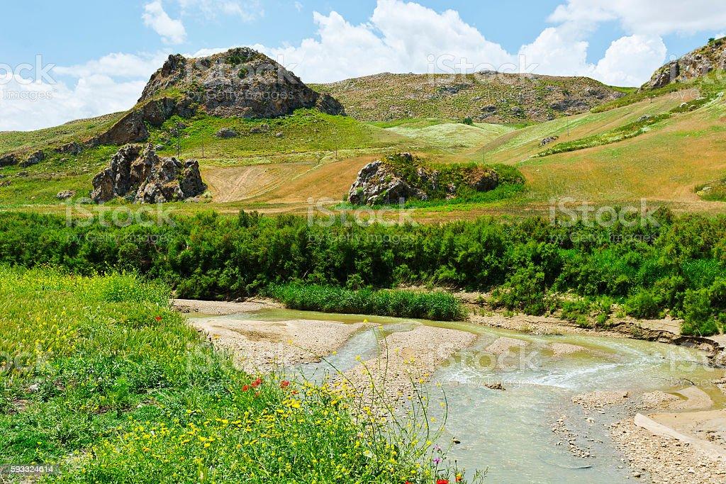 Volcanic Hills of Sicily stock photo