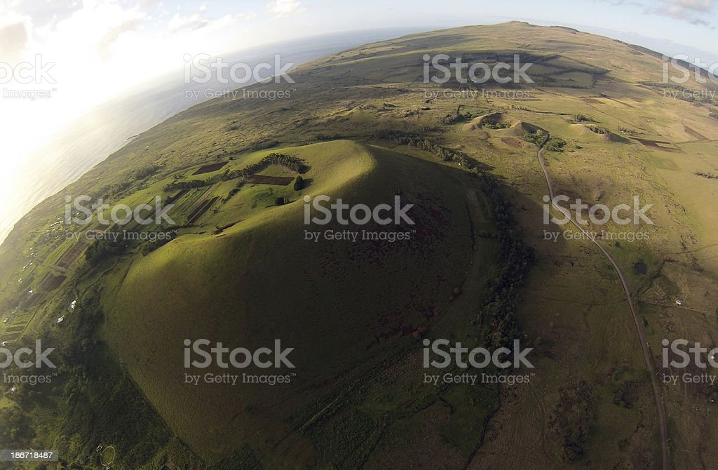 volcanic island aereal view royalty-free stock photo
