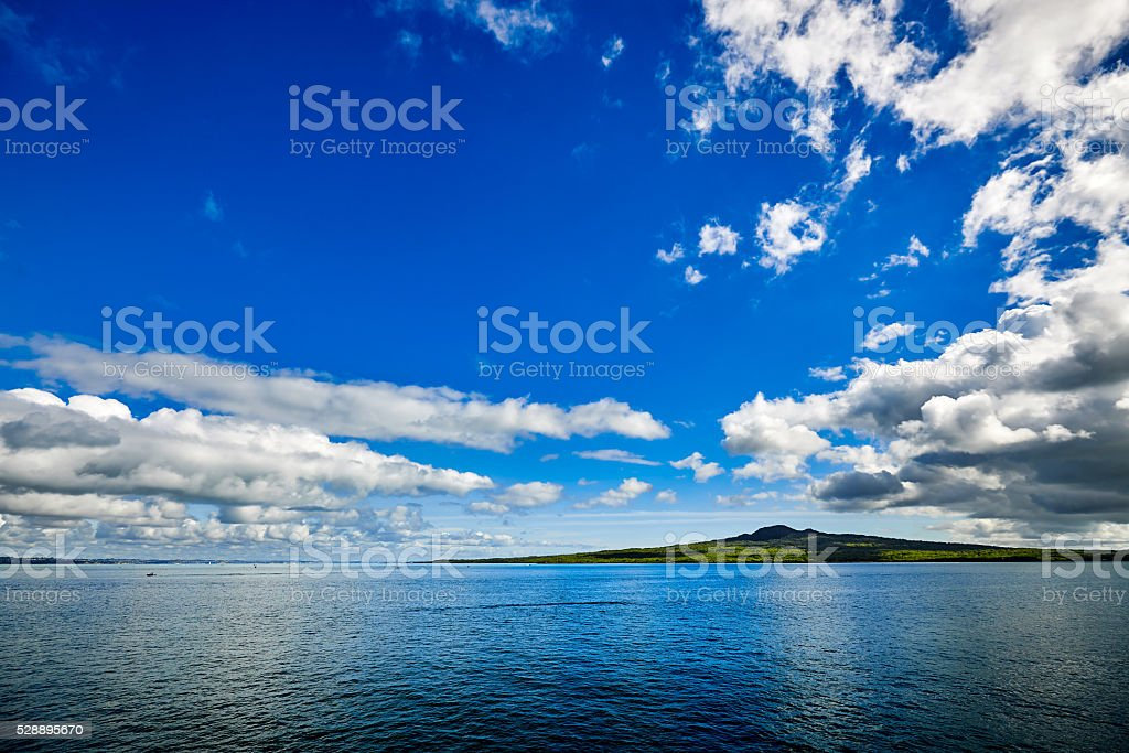 Volcanic island of Rangitoto in New Zealand stock photo