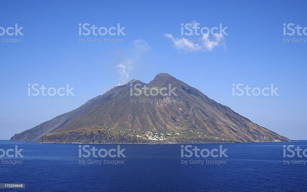 Volcanic Island Stromboli in Italy against Clear Sky royalty-free stock photo