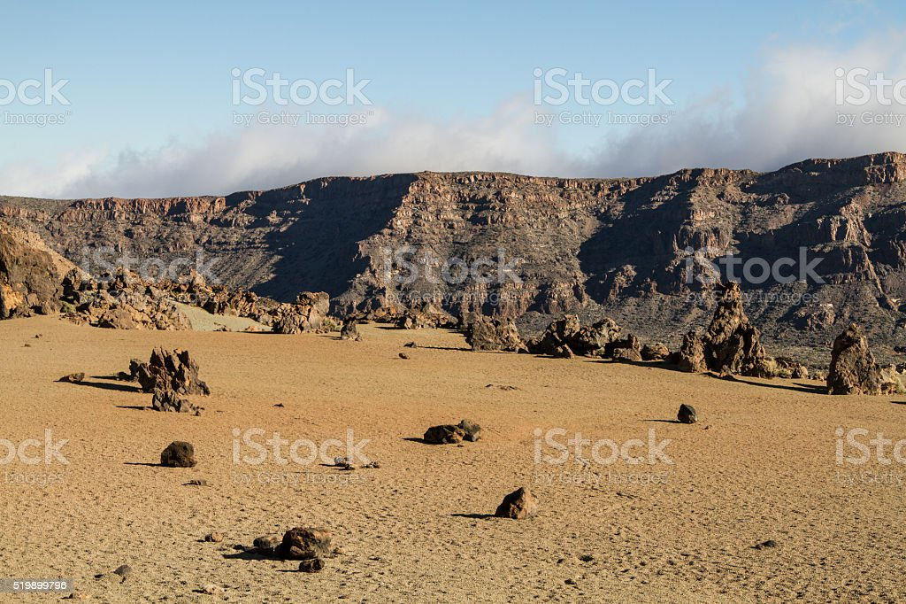 Volcanic ladscape with clouds in National Park, Tenerife, Canary Island stock photo
