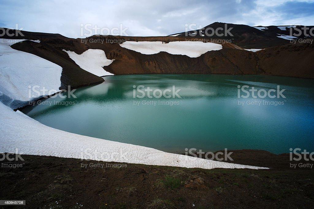 Volcanic Lake in Iceland stock photo