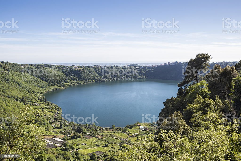 Volcanic Lake Nemi south of Rome, Lazio Italy stock photo
