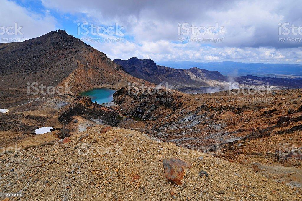 Volcanic landscape around Tongariro Crossing, New Zealand stock photo