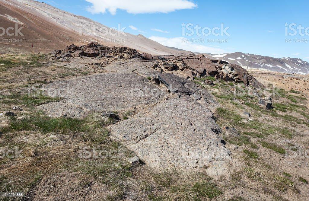 Volcanic landscape at Namaskard, Iceland stock photo