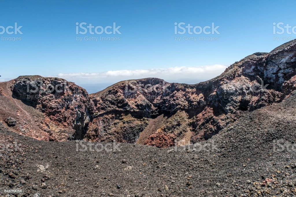 volcanic landscape at Sierra Negra at the Galapagos islands stock photo