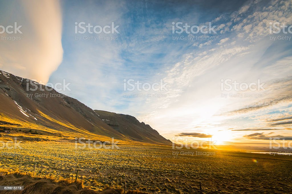 Volcanic landscape in Northern Iceland in autumn stock photo
