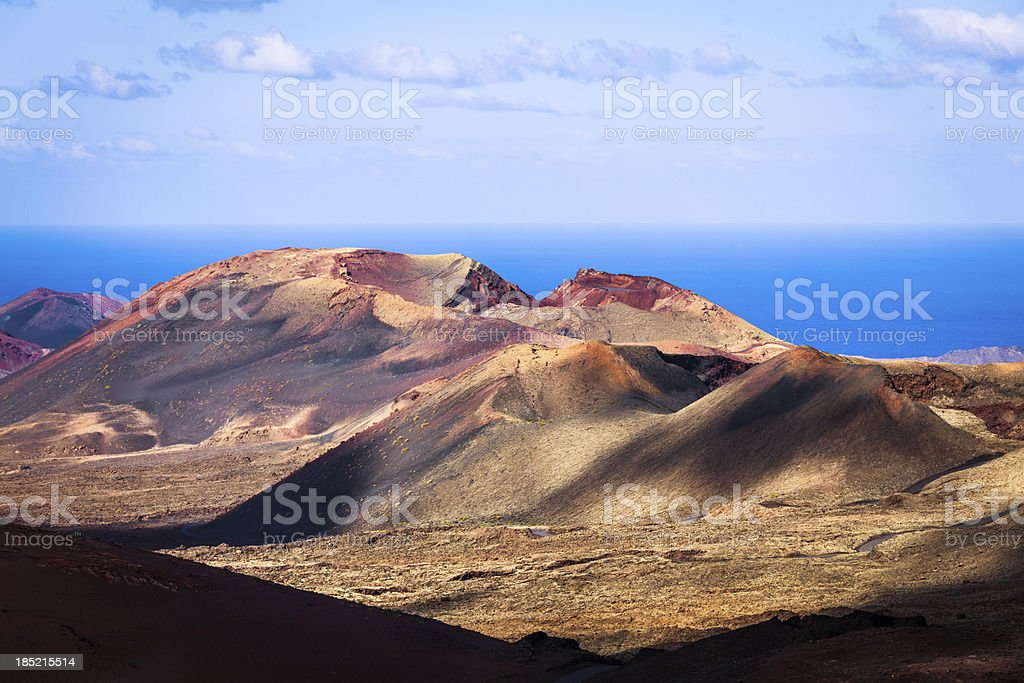 Volcanic Landscape in Timanfaya National Park, Canary Islands stock photo