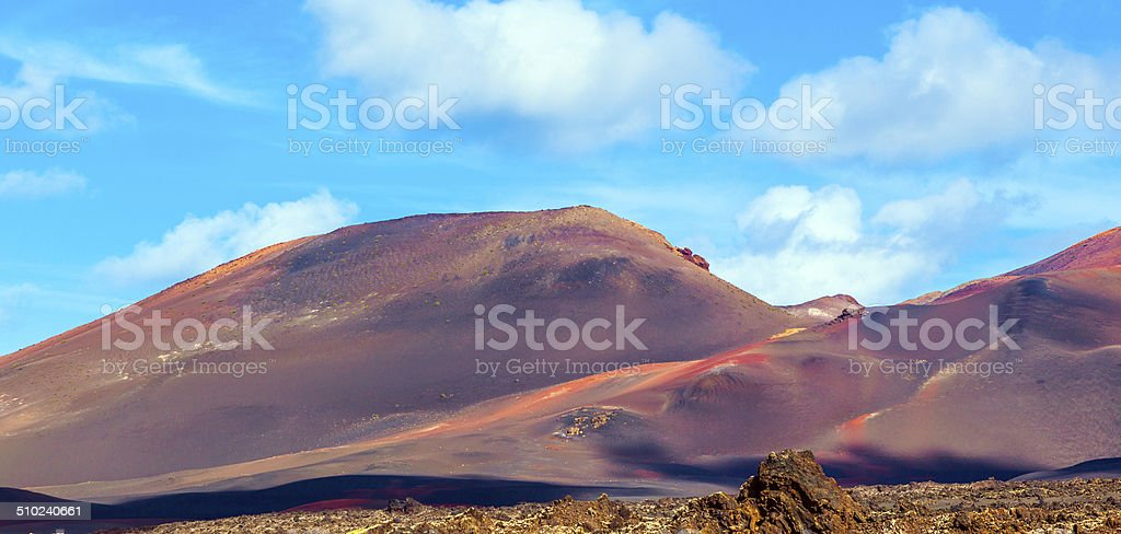 Volcanic landscape in Timanfaya National Park, Lanzarote stock photo
