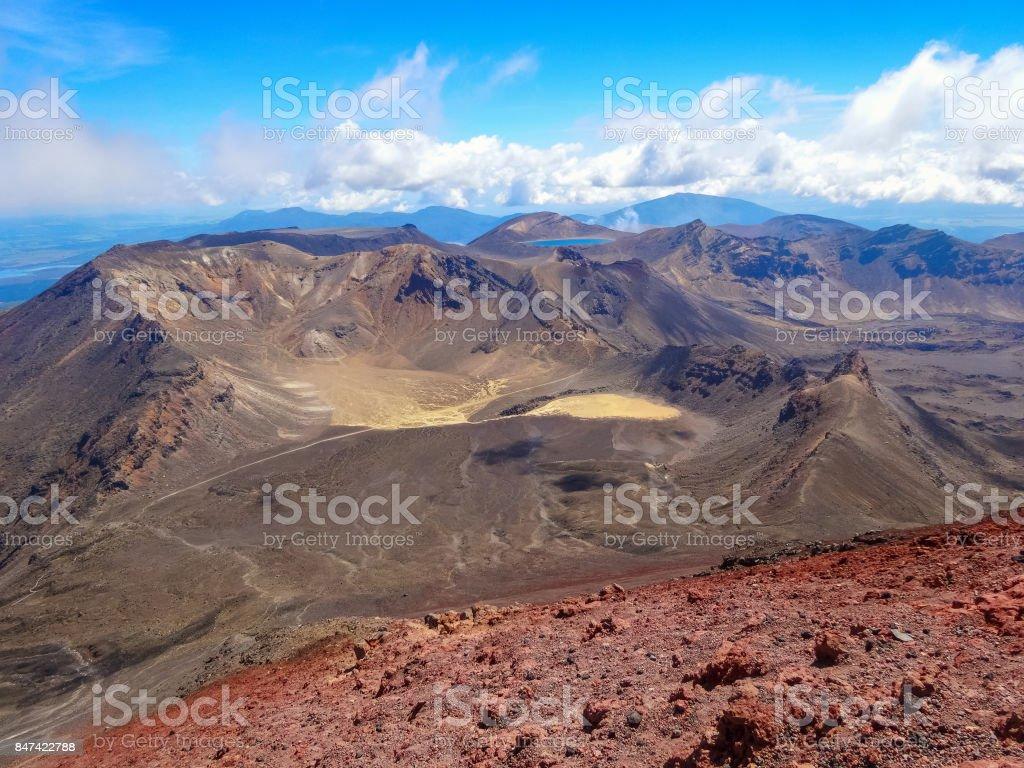 Volcanic landscape in Tongariro National Park New Zealand stock photo