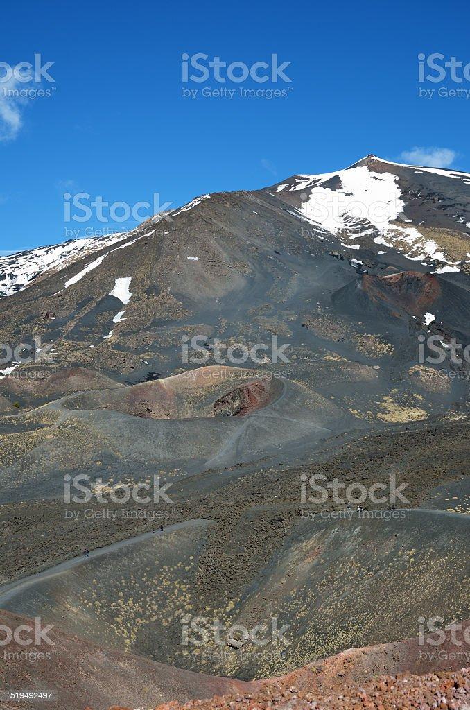 Volcanic landscape of the mount Etna stock photo