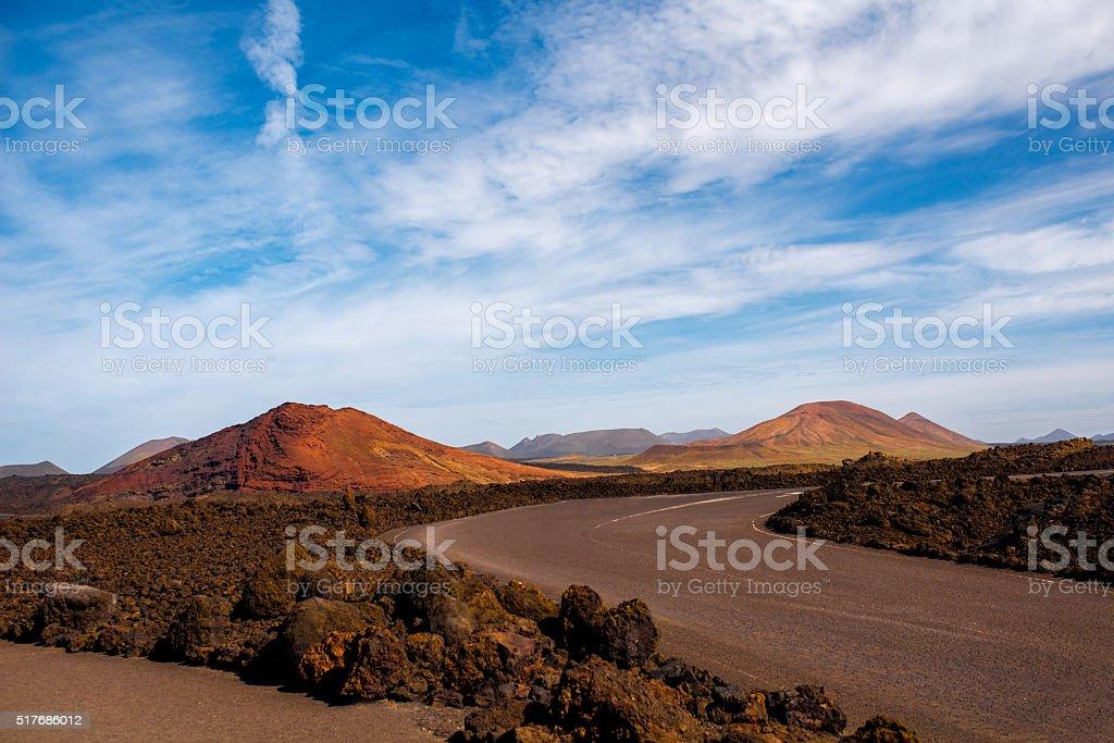 Volcanic landscape on Lanzarote island stock photo