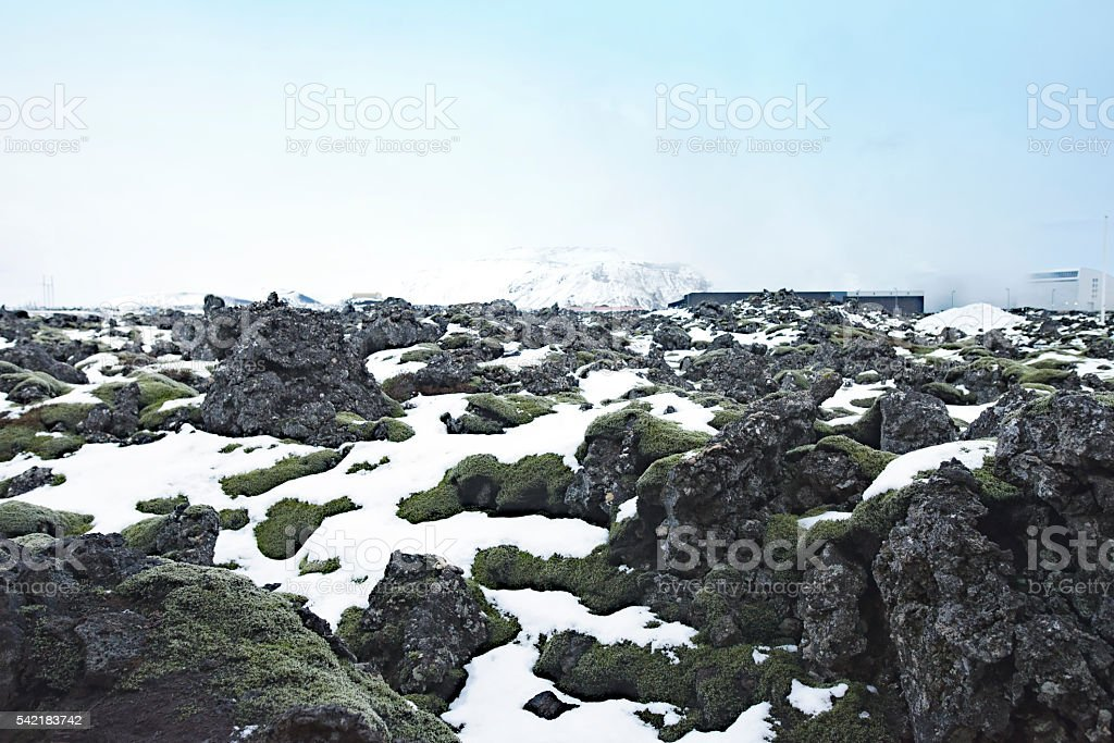 Volcanic landscape with rocks,snow and mosses, Reykjanes Peninsula,Iceland. stock photo