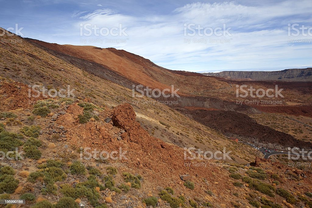 Volcanic landscape with traces of lava streams. royalty-free stock photo