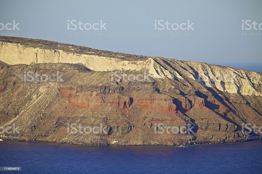 Volcanic landscape with view on Santorini, Greece. stock photo