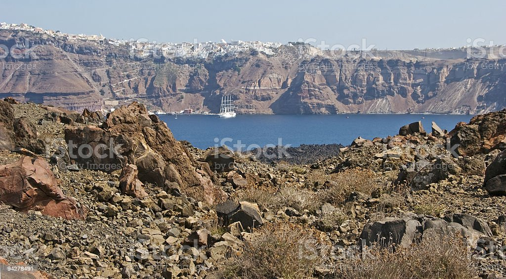 Volcanic landscape with view on Santorini. royalty-free stock photo