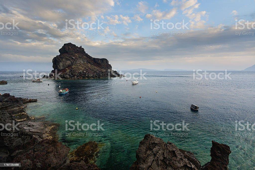 VOlcanic landscape.Santorini island. stock photo
