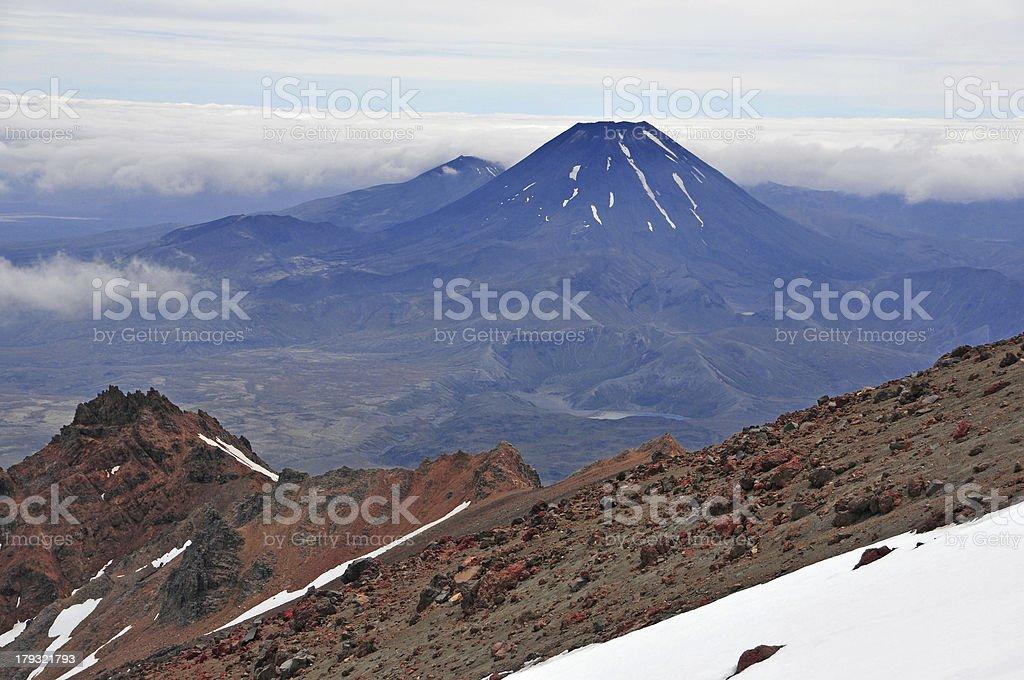Volcanic Mount Ngauruhoe, New Zealand royalty-free stock photo