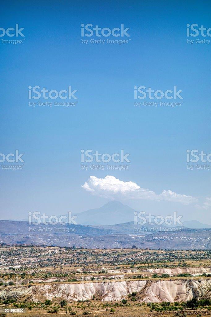 Volcanic mountain in Cappadocia stock photo