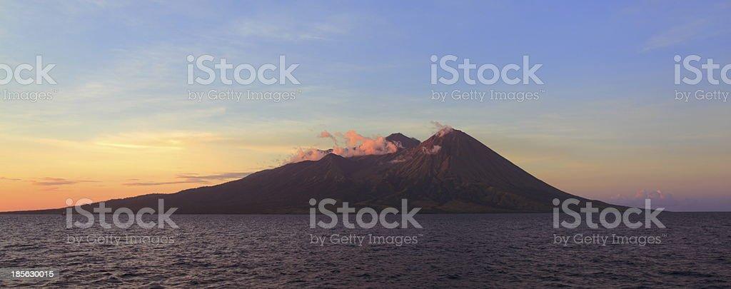 Volcanic Mountain in Sumbawa Indonesia stock photo