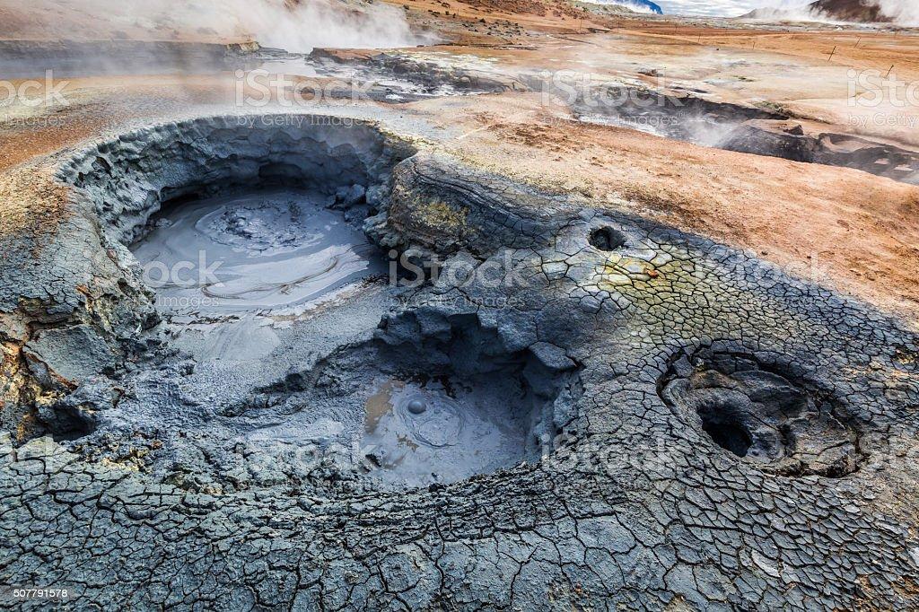 Volcanic Namafjall terrain in Iceland stock photo
