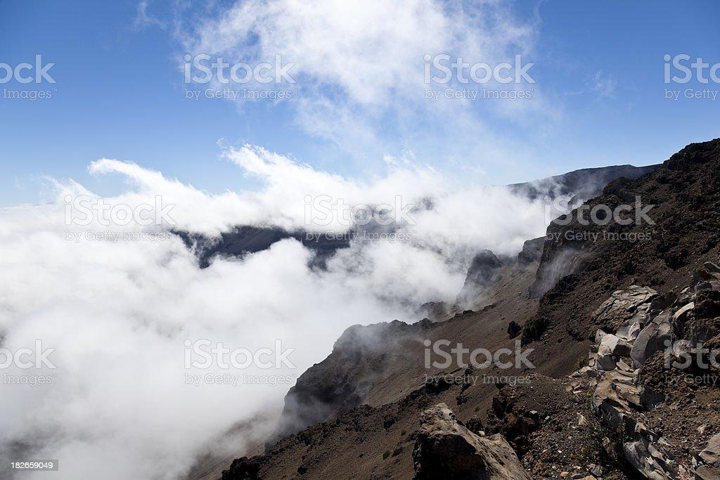 volcanic peak crater landscape stock photo