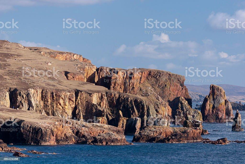 Volcanic rock cliffs at Eshaness in Shetland stock photo