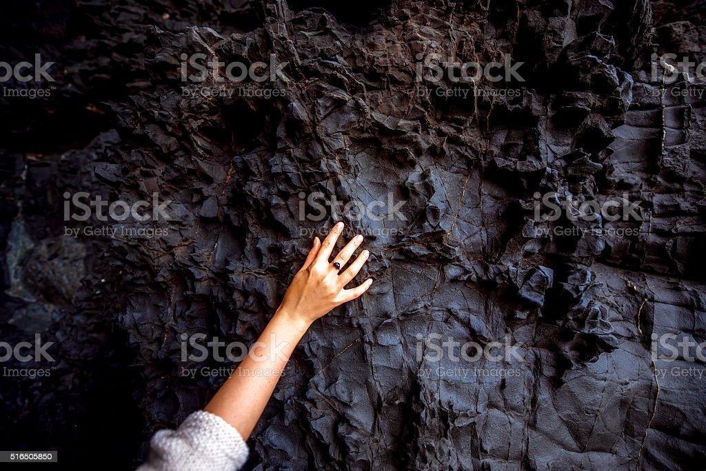 Volcanic rock in Ajiy caves stock photo