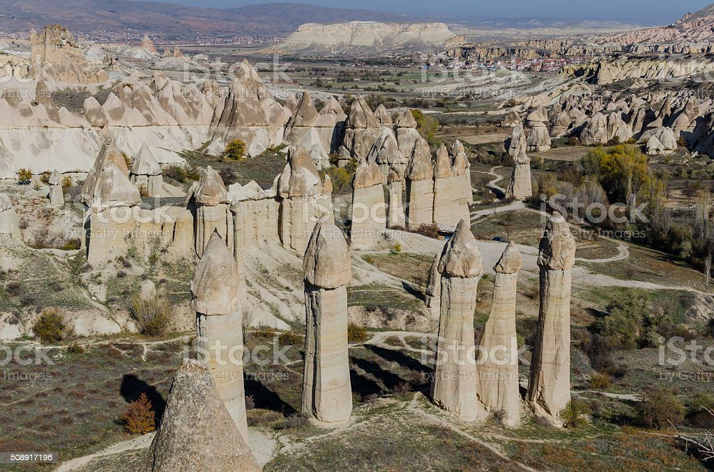 Volcanic rock landscape, Cappadocia, Turkey stock photo