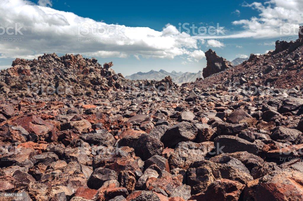 Volcanic Rock, Mountain Desert In Mountains Of North Caucasus. Elbrus Region, Russia stock photo