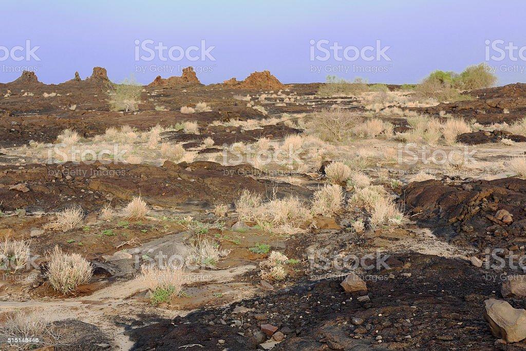 Volcanic rocky landscape in the Danakil depression-Ethiopia. 0247 stock photo