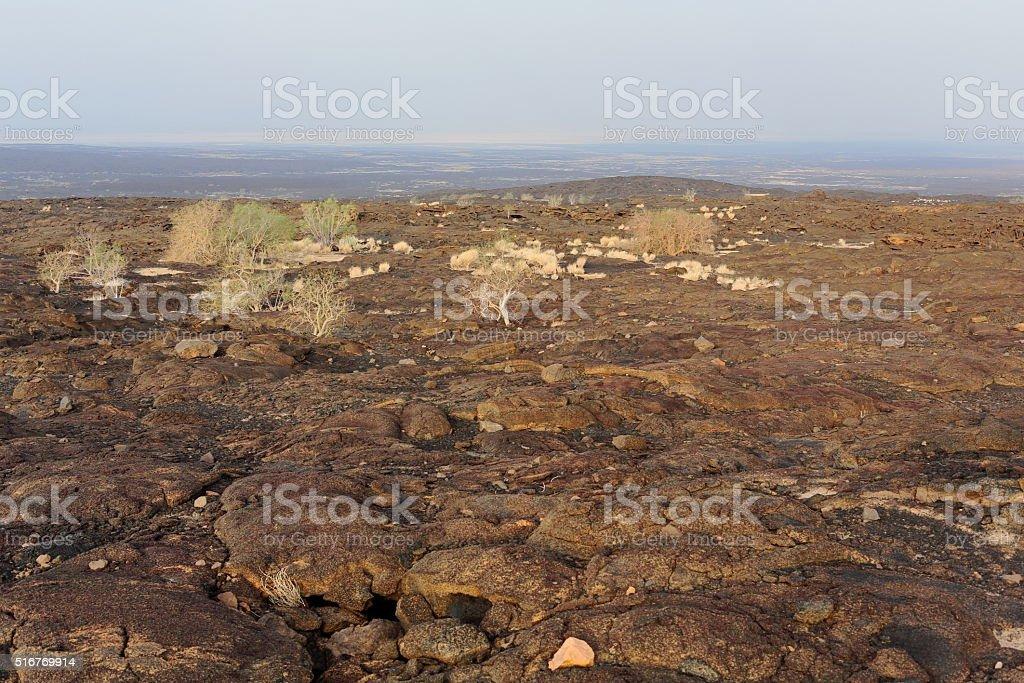 Volcanic rocky landscape-way down Erta Ale volcano. Danakil depression-Ethiopia. 0249 stock photo