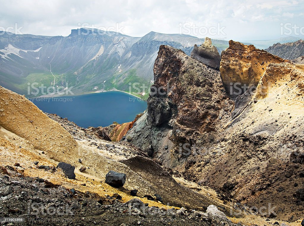 Volcanic rocky mountains, wild landscape, national park Changbaishan, China stock photo