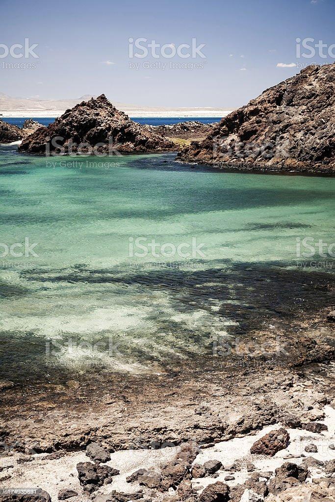 Volcanic seascape. Los Lobos island royalty-free stock photo
