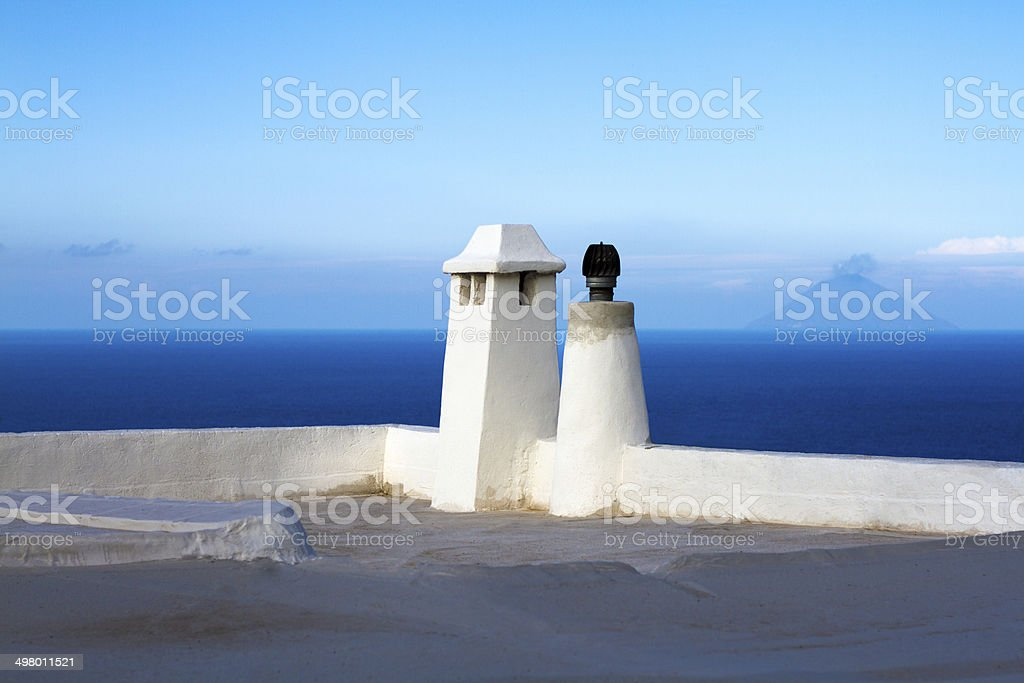 Volcanic Stromboli, as Seen from a Traditional Rooftop, Aeolian Islands stock photo