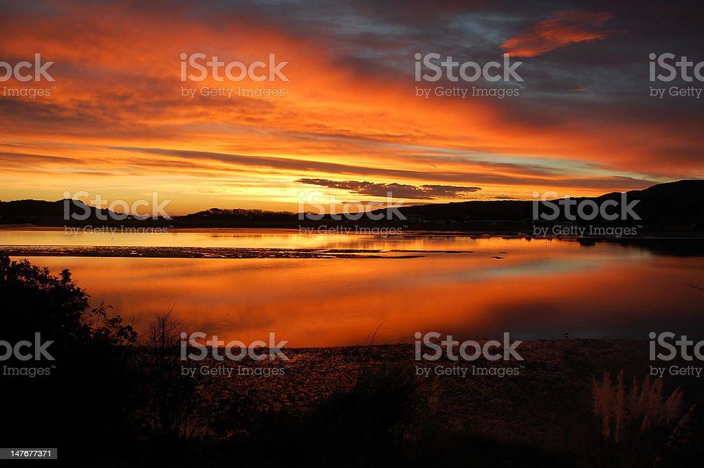 Volcanic sunset stock photo
