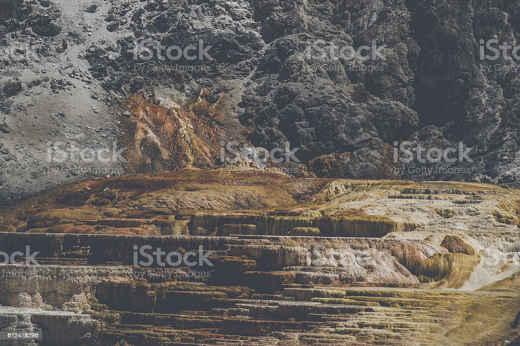 Volcanic surface with rocks stock photo