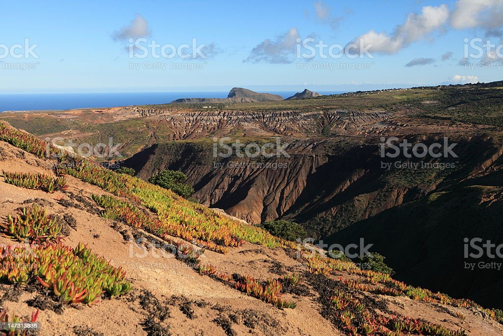 Volcanic terrain of st helena island in late afternoon light stock photo